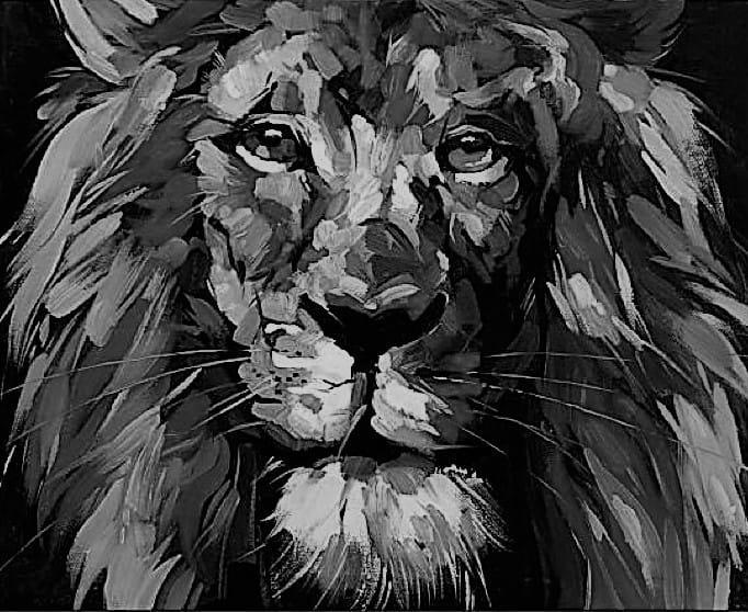 Fonkelnieuw abstracte leeuw zwart wit   Kunst voor in huis WB-17