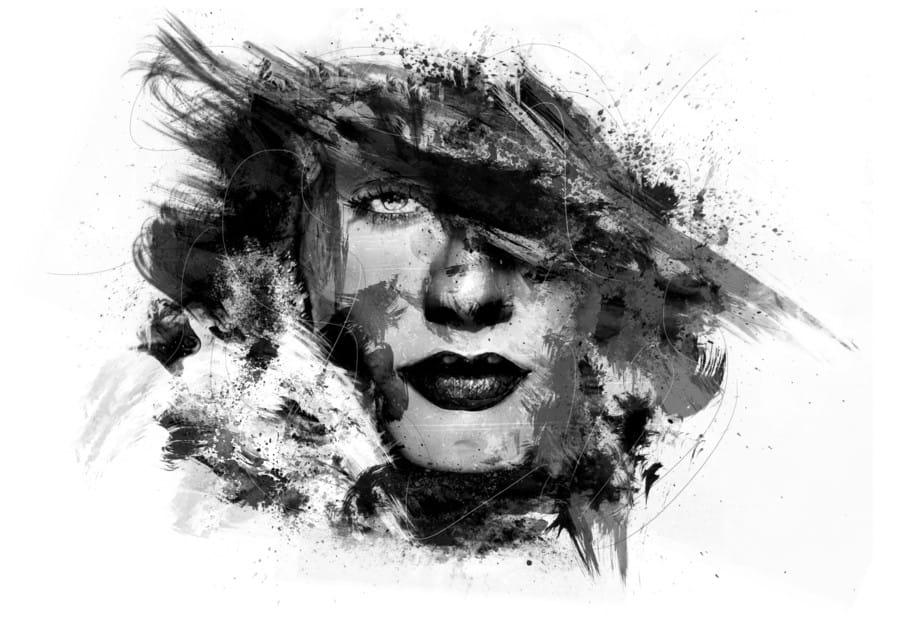 Ongekend zwart wit gezicht van vrouw in olieverf   Kunst voor in huis IC-92