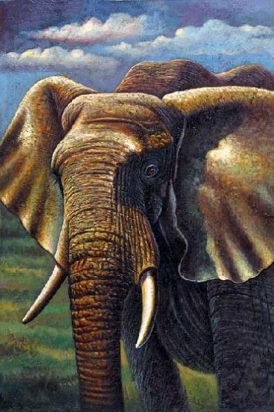 Olieverf schilderij olifant kunst voor in huis for Schilderij olifant