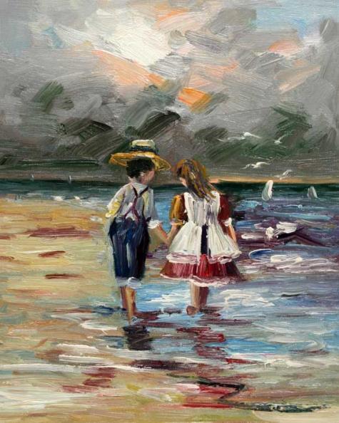 Olieverf schilderij twee kinderen kunst voor in huis - Foto van slaapkamer schilderij ...