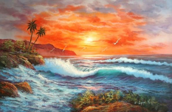Olieverf schilderij zonnige zee kunst voor in huis for Schilderij zeezicht