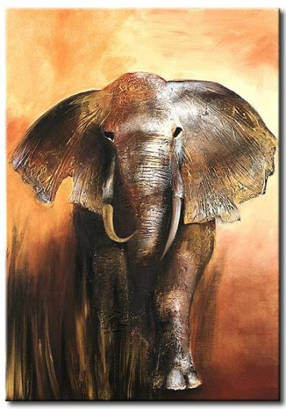 Olieverf schilderij olifant vii kunst voor in huis for Schilderij olifant