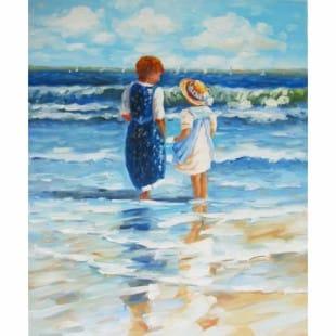 Beste Olieverf schilderij kinderen op het strand | Kunst voor in huis ES-09