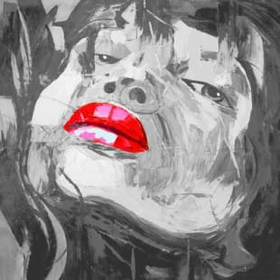 Schilderij pop art red lips foto 1