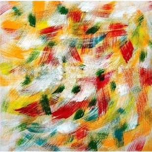 2f0636de7c0243 Abstract schilderij rood geel oranje vegen foto 1