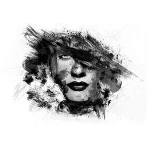 Verwonderlijk zwart wit gezicht van vrouw in olieverf | Kunst voor in huis FC-03