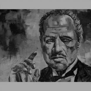 Schilderij Godfather Don Corleone Zwart Wit foto 2